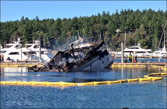 85-foot luxury yacht gutted by flames at San Juan Island marina