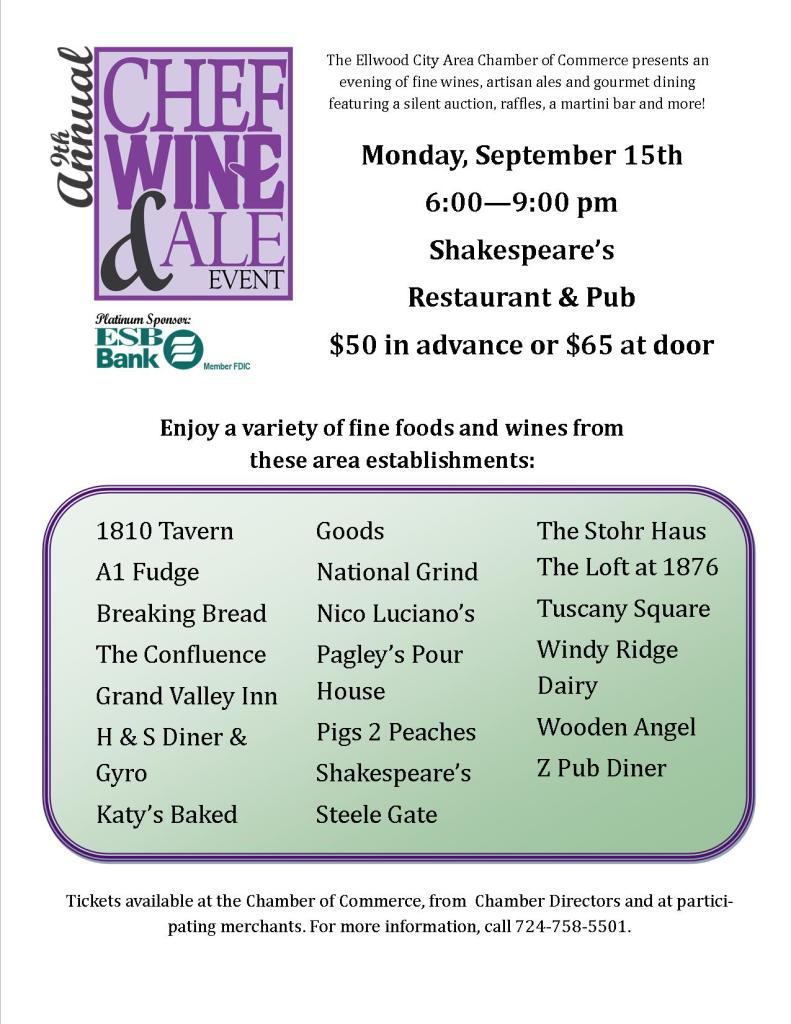 9th Annual Chef, Wine & Ale Event To Be Held Tonight!
